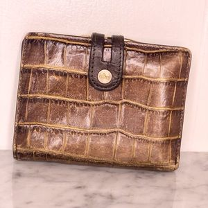 ABAS WALLET IN BROWN WITH GOLD ACCENTS